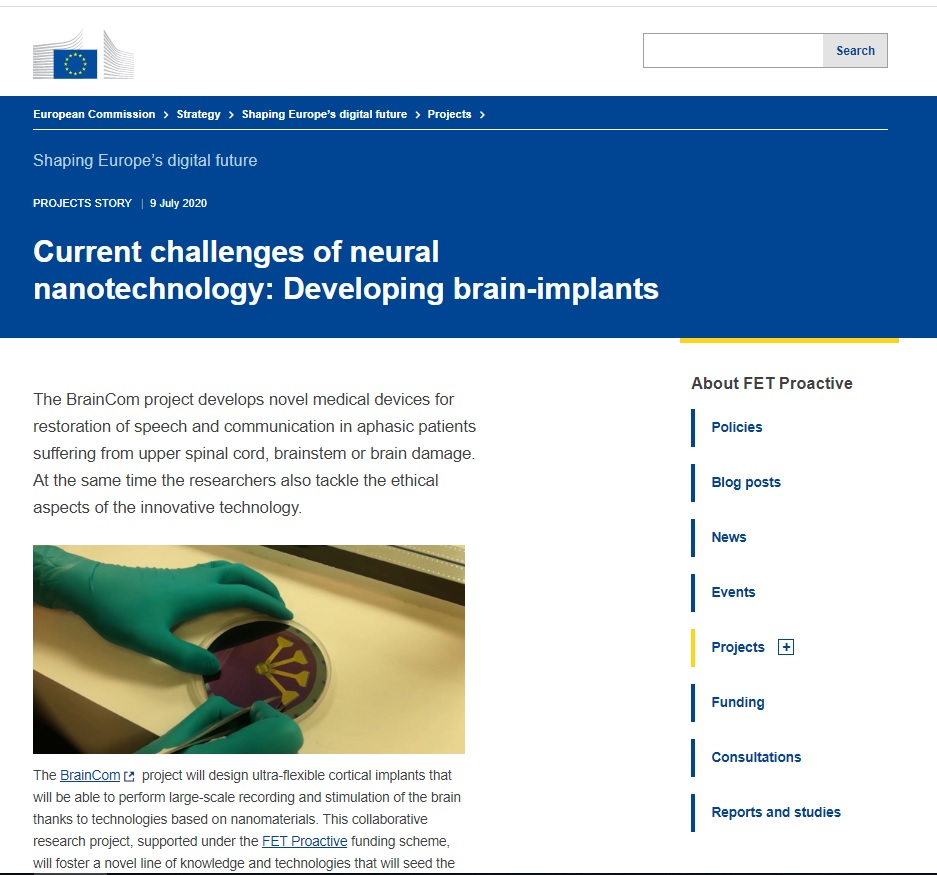 Screenshot of BrainCom featured in the European Commission's Shaping Europe's Digital Future