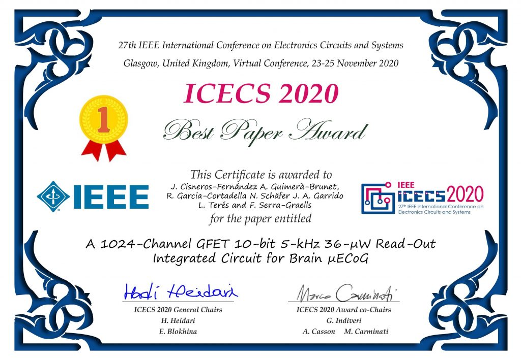 IEEE ICECS 2020 Best Paper Award, A 1024-Channel GFET 10-bit 5-kHz 36-uW Read-Out Integrated Circuit for Brain uECoG